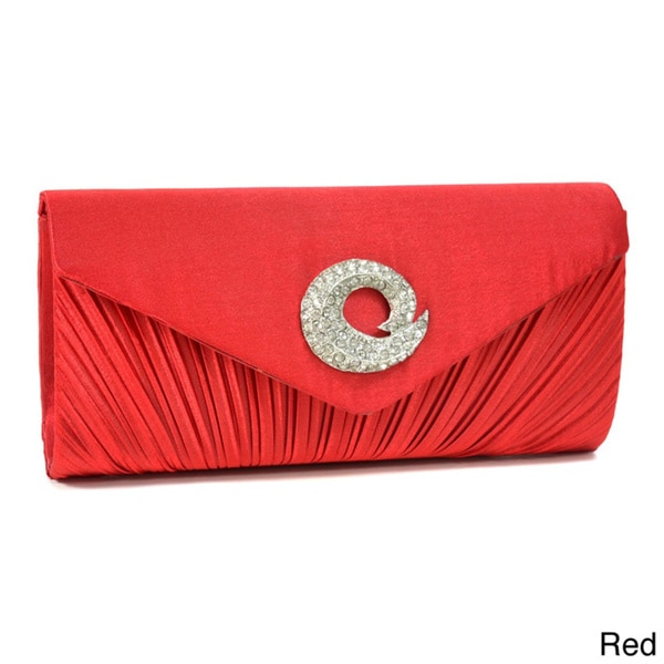 Dasein Pleated Rhinestone Ornament Satin Clutch