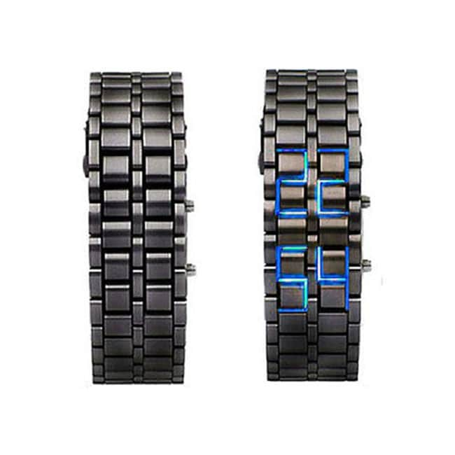 Black Stainless Steel Women's Lava LED Digital Bracelet Watch