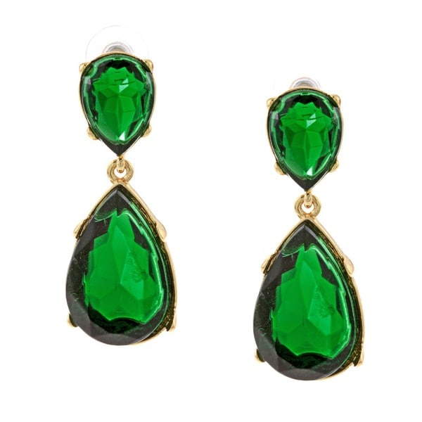 Kenneth Jay Lane Goldtone Green Crystal Teardrop Earrings