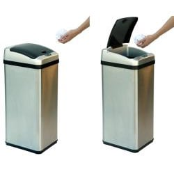 iTouchless 13-gallon Rectangular Extra-wide Stainless Steel Automatic Sensor Trash Can - Thumbnail 2