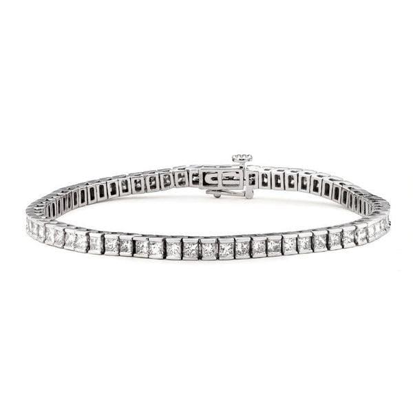 Montebello 14k White Gold 4ct Tdw Certified Princess Cut Diamond Tennis Bracelet
