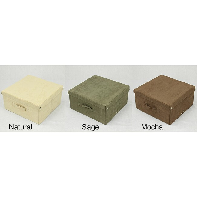 Medium Covered Foldable Microsuede Storage Box (30-pound Capacity)