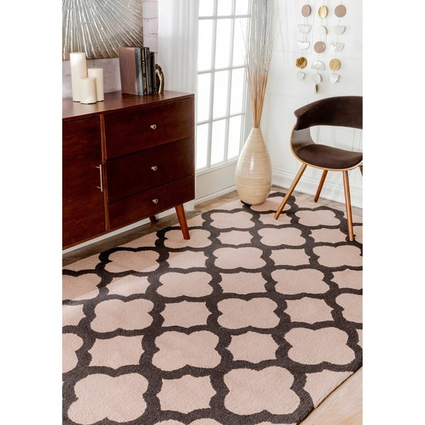 "nuLOOM Handmade Moroccan Trellis Abstract Wool Rug - 7'6"" x 9'6"""