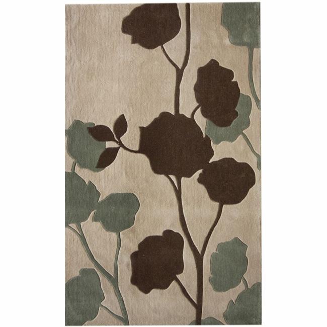 nuLOOM Handmade Floral Beige Rug (5' x 8')