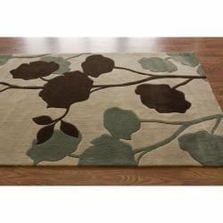 nuLOOM Handmade Floral Beige Rug (5' x 8') - Thumbnail 1