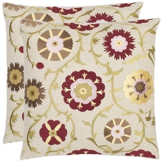 Safavieh Floral 18-inch Cream/ Red Decorative Pillows (Set of 2)