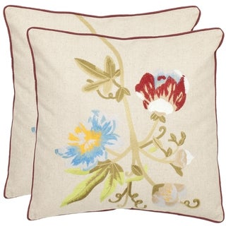 Safavieh Blossoms 18-inch Cream Decorative Pillows (Set of 2)