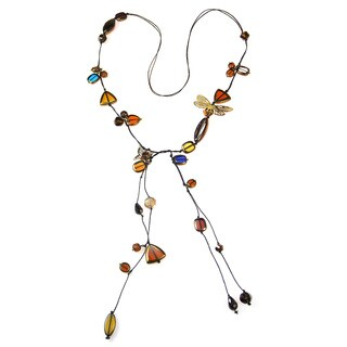 Handmade Goldtone Butterfly Romance Cotton Rope Lariat Necklace (Thailand)