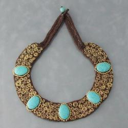 Brass Turquoise Mosaic Spiral Cotton Rope Necklace (Thailand)