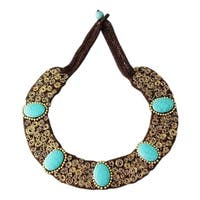 Handmade Brass Turquoise Mosaic Spiral Cotton Rope Necklace (Thailand)