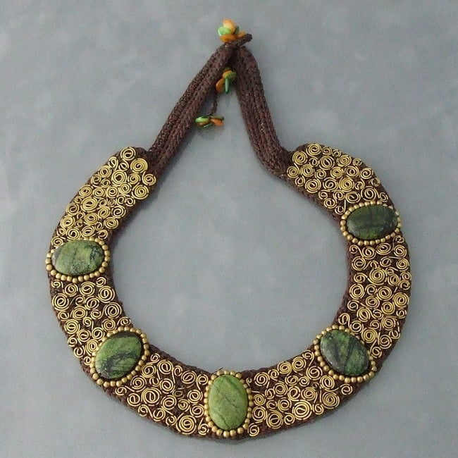 Brass Green Jasper Mosaic Spiral Cotton Rope Necklace (Thailand)