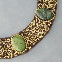 Brass Green Jasper Mosaic Spiral Cotton Rope Necklace (Thailand) - Thumbnail 1