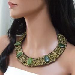 Brass Green Jasper Mosaic Spiral Cotton Rope Necklace (Thailand) - Thumbnail 2