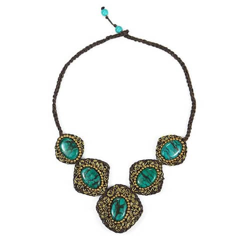 Handmade Precious Blue Turquoise Spiral Brass Accented Necklace (Thailand) - Blue turquoise