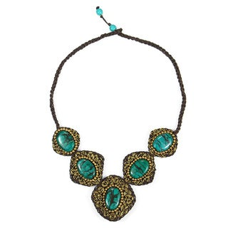 Brass Blue Turquoise Spiral Necklace (Thailand)