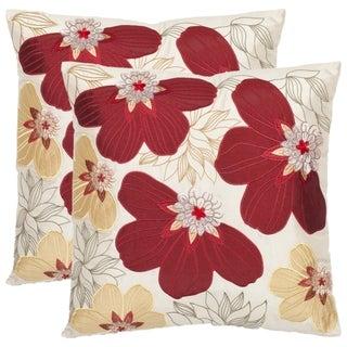 Safavieh Petals 18-inch Cream/ Red Decorative Pillows (Set of 2)