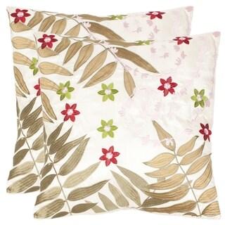 Safavieh Motif 18-inch Cream/ Green Decorative Pillows (Set of 2)