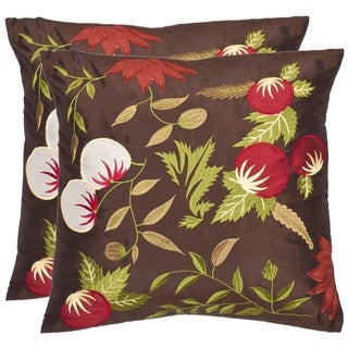 Safavieh Renaissance 18-inch Brown/ Green Decorative Pillows (Set of 2)