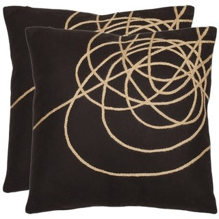 Safavieh Swirls 18-inch Brown/ Tan Decorative Pillows (Set of 2)