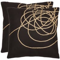 Safavieh Swirls 18-inch Brown/ Tan Decorative Pillows (Set of 2)