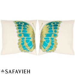 Safavieh Majestic Butterfly 18-inch Cream/ Blue Decorative Pillows (Set of 2)