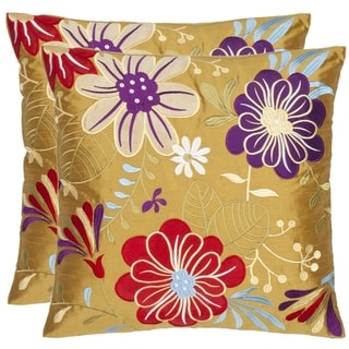Safavieh Japan Garden 18-inch Gold Decorative Pillows (Set of 2)