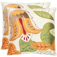 Safavieh Botanical 18-inch Cream Decorative Pillows (Set of 2)