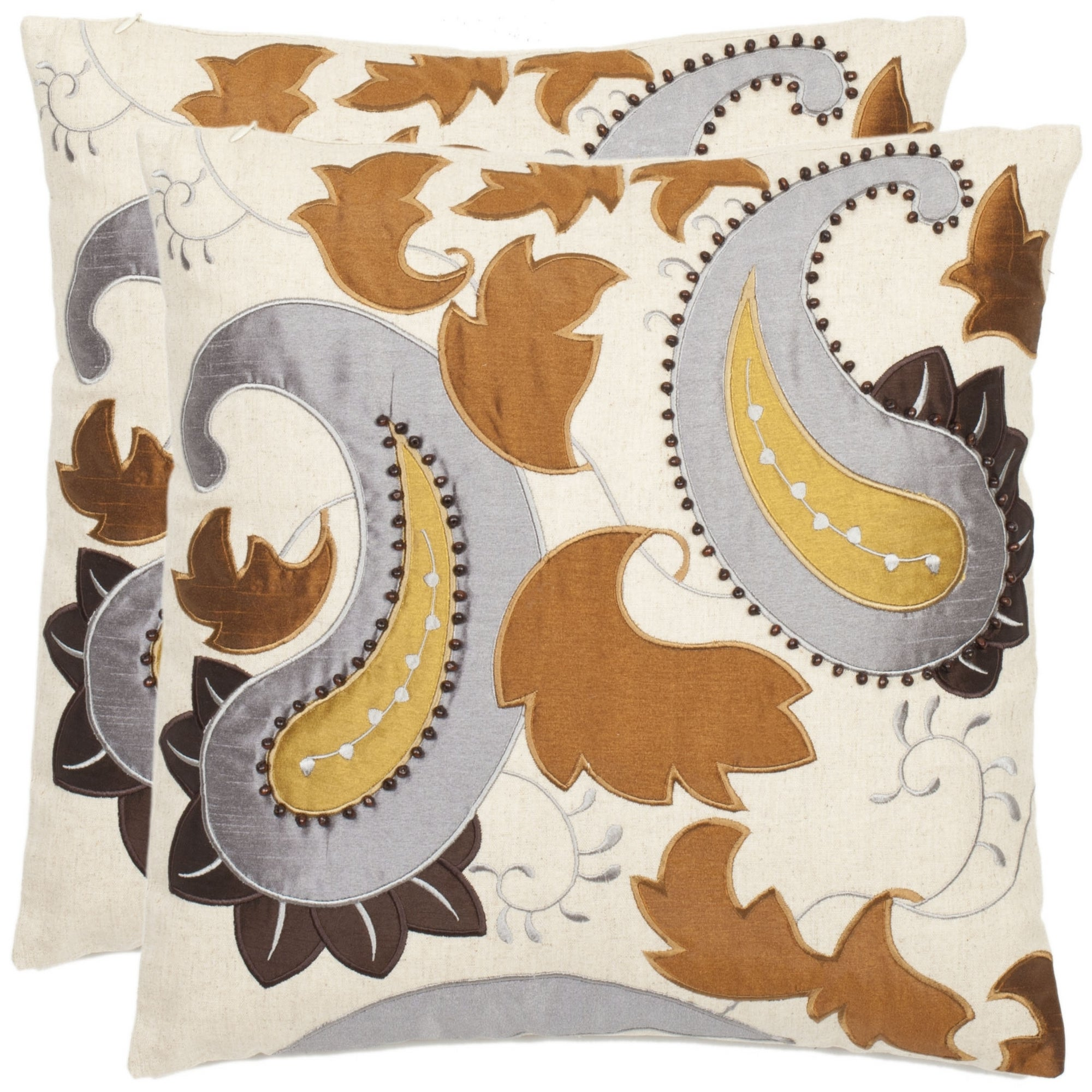 Safavieh Paisley 18 Inch Cream Decorative Pillows Set Of 2 Overstock 6395171