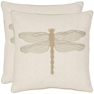 Safavieh Dragonfly 18-inch Cream/ Green Decorative Pillows (Set of 2)