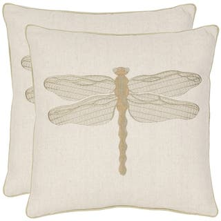 Safavieh Dragonfly 18-inch Cream/ Green Decorative Pillows (Set of 2)|https://ak1.ostkcdn.com/images/products/6395173/P14006603.jpeg?impolicy=medium