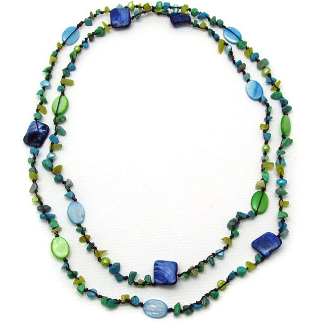 Multicolored Mother of Pearl and Lapis Necklace (6-7 mm)(Thailand)