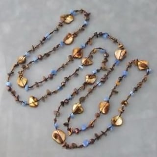 Brown Mother of Pearl and Tiger's Eye Necklace (6-7 mm)(Thailand)