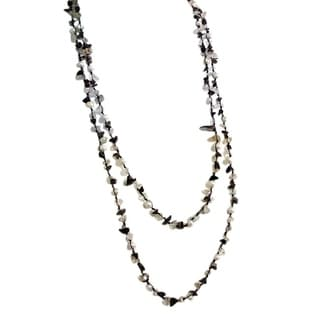 Midnight Beauty Quartz and Pearl Cotton Strand Necklace