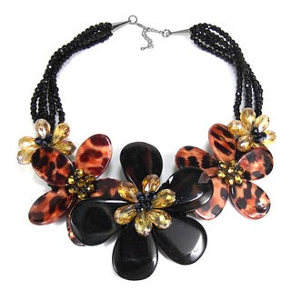 Leopard-Print Mother of Pearl Floral Necklace (Thailand)