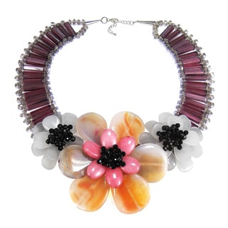 Handmade Sterling Silver Mystic Agate and Quartz Floral Necklace (Thailand)