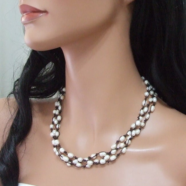 Handmade Three-Strand White Pearl Flowing Necklace (6-9 mm)(Thailand)