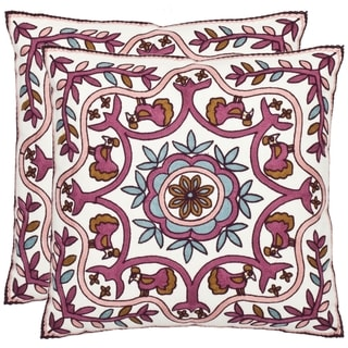 Safavieh Ruddy 18-inch White/ Purple Decorative Pillows (Set of 2)