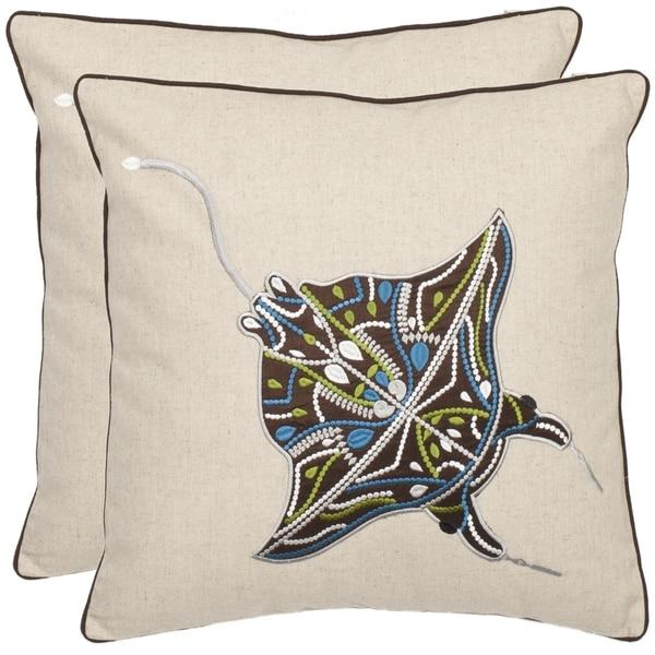 Shop Safavieh Stingray 18 Inch Cream Brown Decorative Pillows Set