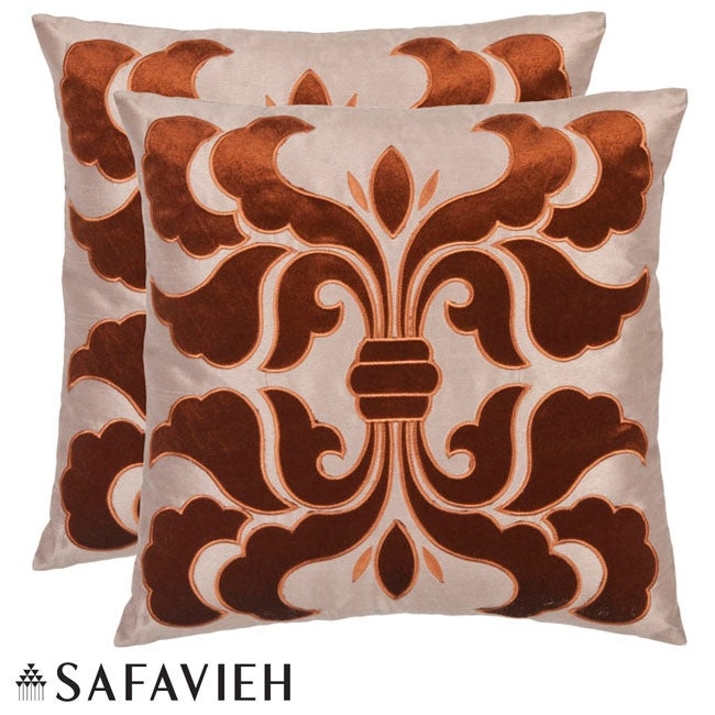Safavieh Damask 18-inch Cream/ Brown Decorative Pillows (Set of 2)