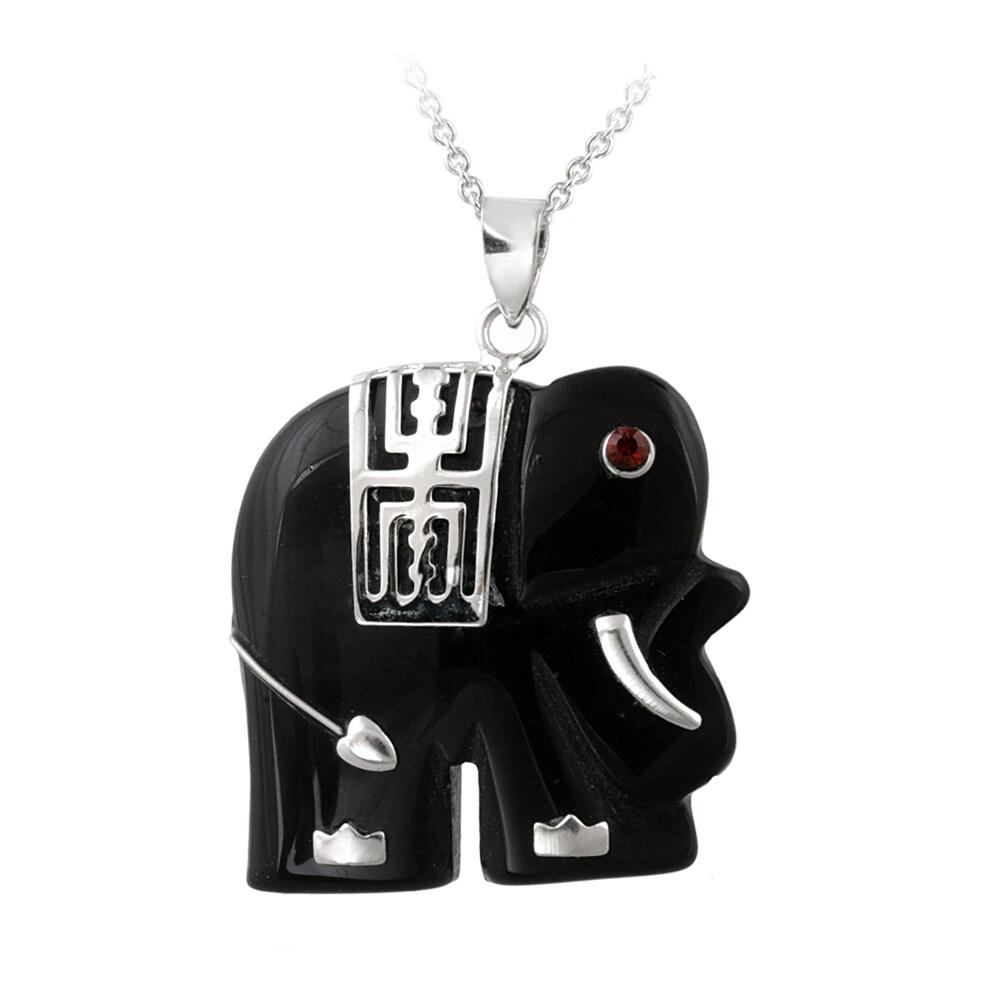 Glitzy Rocks Sterling Silver Onyx Elephant Necklace