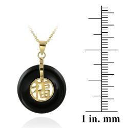 Glitzy Rocks 18k Gold over Silver Onyx Blessing Necklace - Thumbnail 2