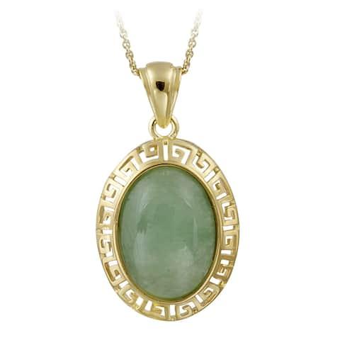 Glitzy Rocks 18k Gold over Sterling Silver Oval Green Jade Greek Key Necklace