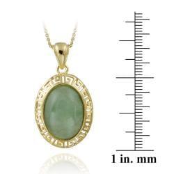 Glitzy Rocks 18k Gold over Sterling Silver Oval Green Jade Greek Key Necklace - Thumbnail 2