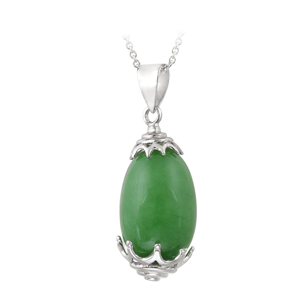 Glitzy Rocks Sterling Silver Green Jade Drop Necklace
