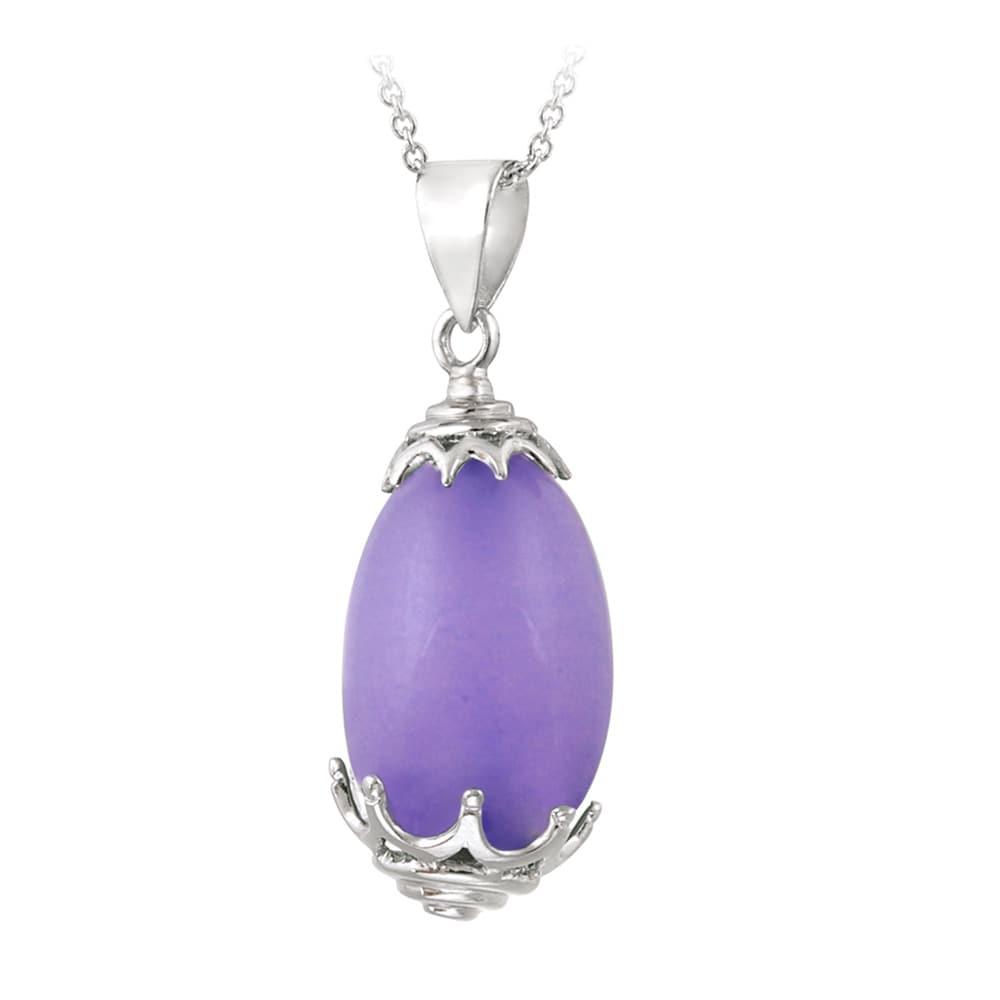 Glitzy Rocks Sterling Silver Lavender Jade Drop Necklace