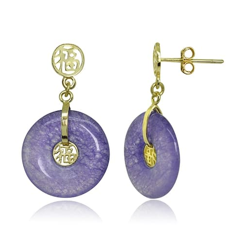 Glitzy Rocks 18k Gold over Sterling Silver Lavender Jade Disc Earrings