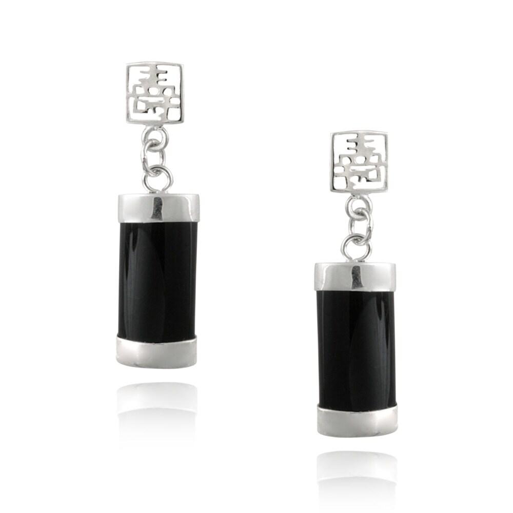 Glitzy Rocks Sterling Silver Onyx Dangle Earrings