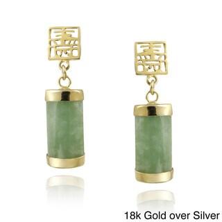 Glitzy Rocks Sterling Silver Green Jade Dangle Earrings