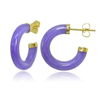 Glitzy Rocks 18k Gold over Sterling Silver Lavender Jade Half Hoop Earrings