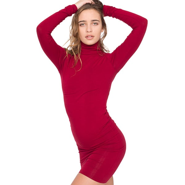 American Apparel Women's Cotton Spandex Jersey Turtleneck Dress